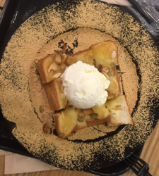 A popular Korean dessert of ice cream over toast with red bean paste
